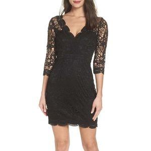 Lulu's Lace Black V-Neck Dress NWOT